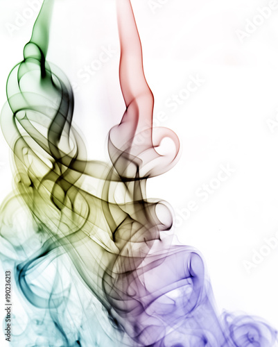 In de dag Abstract wave white,blue, black and rainbow colorful smoke pattern, texture, background