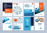 Set of medical brochure, annual report, flyer design templates in A4 size. Vector illustrations for medical, healthcare, pharmacy presentation, document cover and layout template designs. - 190236859
