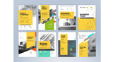 Set of business brochure, annual report, flyer design templates in A4 size. Vector illustrations for business presentation, business paper, corporate document cover and layout template designs. - 190237456