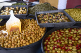Varieties of many olives on a market in Valencia - 190237607