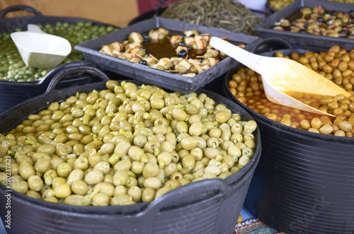 Varieties of many olives on a market in Valencia