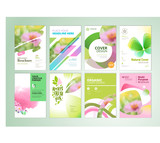 Set of natural product brochure, annual report, flyer design templates. Vector illustrations for beauty, organic products and cosmetics presentation, document cover and layout template designs. - 190238697