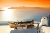 Santorini island leisure life boat sunset - 190243039