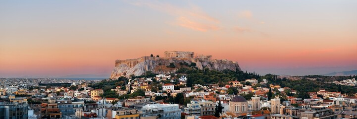 Athens skyline rooftop panorama sunset