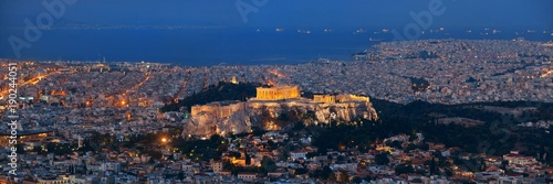 Fotobehang Athene Athens skyline from Mt Lykavitos panorama