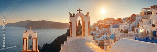 Foto op Canvas Santorini Santorini skyline sunset