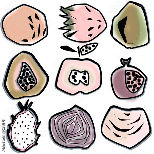 Illustration with abstract modern fruits on isolated background - 190245895