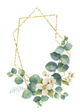 Watercolor vector composition from the branches of eucalyptus and gold geometric frame. - 190248214