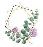 Watercolor vector composition from the branches of eucalyptus and gold geometric frame. - 190248232