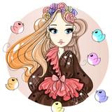 Cute fashion girl cartoon character with birds, hand drawn vector illustration