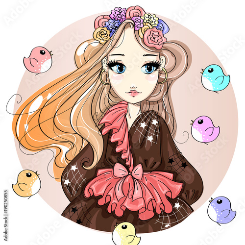 Cute fashion girl cartoon character with birds, hand drawn vector illustration - 190250855