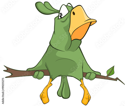 Fotobehang Babykamer Illustration of a Green Parrot. Cartoon Character