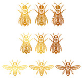 vector set with bees. bees with eye. occult bees and fly. golden insect bees - 190255848