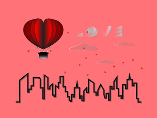 illustration of love and valentine day, hot air balloon flying over the city with heart float on the sky. paper art style.