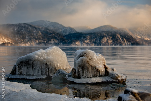 Poster Bleke violet Russia. mountain Altai. Despite the strong Siberian frosts, Teletskoye lake freezes completely once in five years.