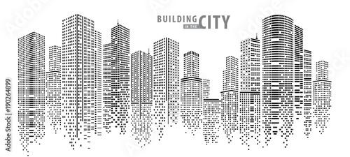 Streszczenie miasto wektor, przejrzysty krajobraz miasta, kropki budynek w nocy Miasto