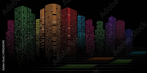 Abstract City vector, transparent city landscape, Dots Building in the night City