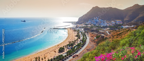 Panoramic aerial view over Teresitas beach in summer holiday in Tererife, Spain - 190272402