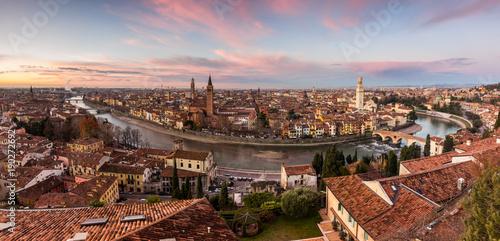 Deurstickers Diepbruine Verona Panoramica