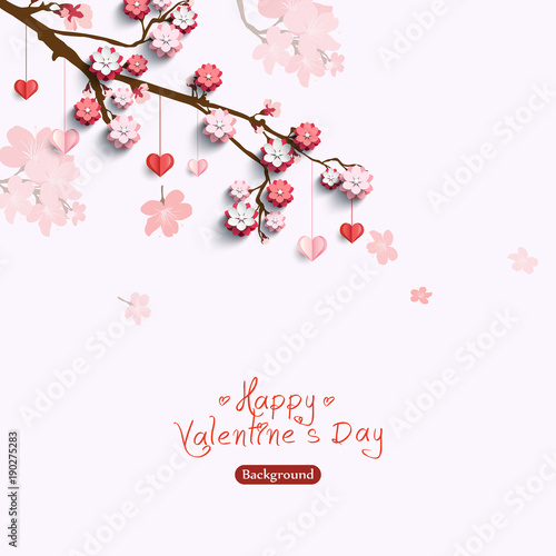Valentines card with decorative paper hearts and pink flowers on sakura branch. Vector illustration love creative concept