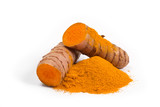 turmeric powder with turmeric root isolated on white - 190275800