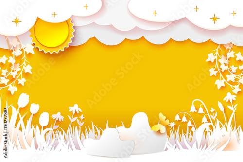 Flowering meadow. Grass and flowers carved from white paper on a yellow background. Paper Cut out art. Sun, clouds on sky. Vector illustration banner