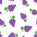 Grape fruit with leaf seamless pattern background. Business concept vector illustration. Bunch of wine grapevine symbol pattern.