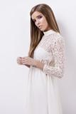white elegant dress - 190284288