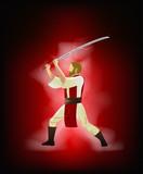 Cartoon character with samurai sword. Vector illustration. - 190284427