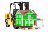Forklift truck with house. Residential Moving concept, 3D rendering - 190285297