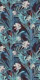 Blue Oriental Botanical Seamless Vector Pattern - 190290623