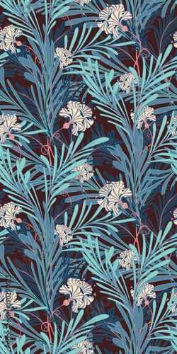 Blue Oriental Botanical Seamless Vector Pattern