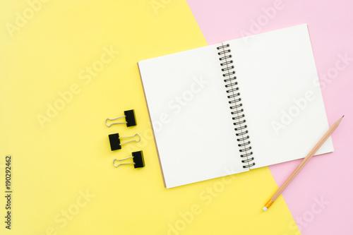 Kreatywne mieszkanie lay photo of workspace desk. Widok z góry biurko z otwartymi makiety notebooki i ołówek i roślin na tle pastelowych kolorów. Widok z góry z miejsca kopiowania, płaskie zdjęcia świeckich.