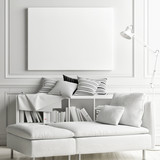 White soft interior with mock up poster on wall, 3d render, 3d illustration - 190294426