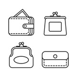 Wallet icon. Vector set of different purses. Line style. - 190297091