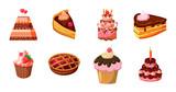 Cake icon set, cartoon style - 190300609