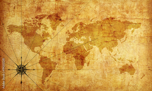 Foto Murales pirate map Wallpaper, texture. 3d rendering.
