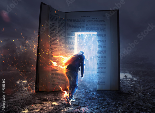 Man on fire and Bible