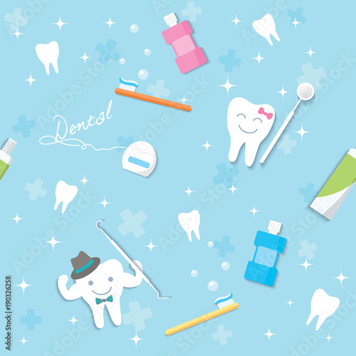 illustration vector of dental template decorated with teeth shape