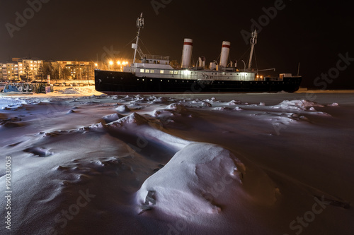 Keuken foto achterwand Schip View of the Angara icebreaker in Irkutsk
