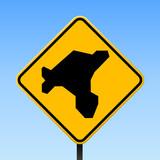 Salt Island map on road sign. Square poster with Salt Island island map on yellow rhomb road sign. Vector illustration. - 190336258