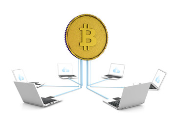 3d golden bitcoin with network