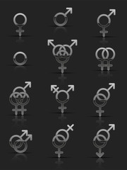 Set of silver sexuality icons
