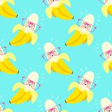 vector cartoon kawaii style banana seamless pattern