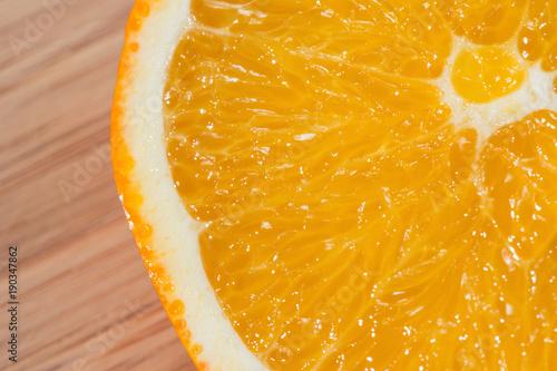 Orange cut into half.