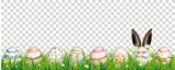 Natural Easter Eggs Happy Easter Rabbit Ears Transparent Header - 190348070