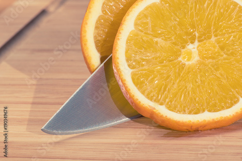 Orange cut into slices.