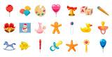 Kid toys icon set, cartoon style
