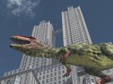 Dinosaurier Giganotosaurus vor einem Wolkenkratzer - 190353627