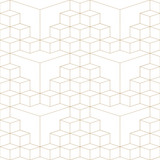 Abstract geometric 3d grid seamless pattern, gold and white texture